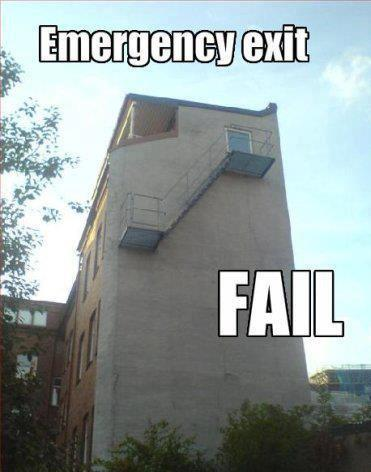 Emergency exit #Epic fail